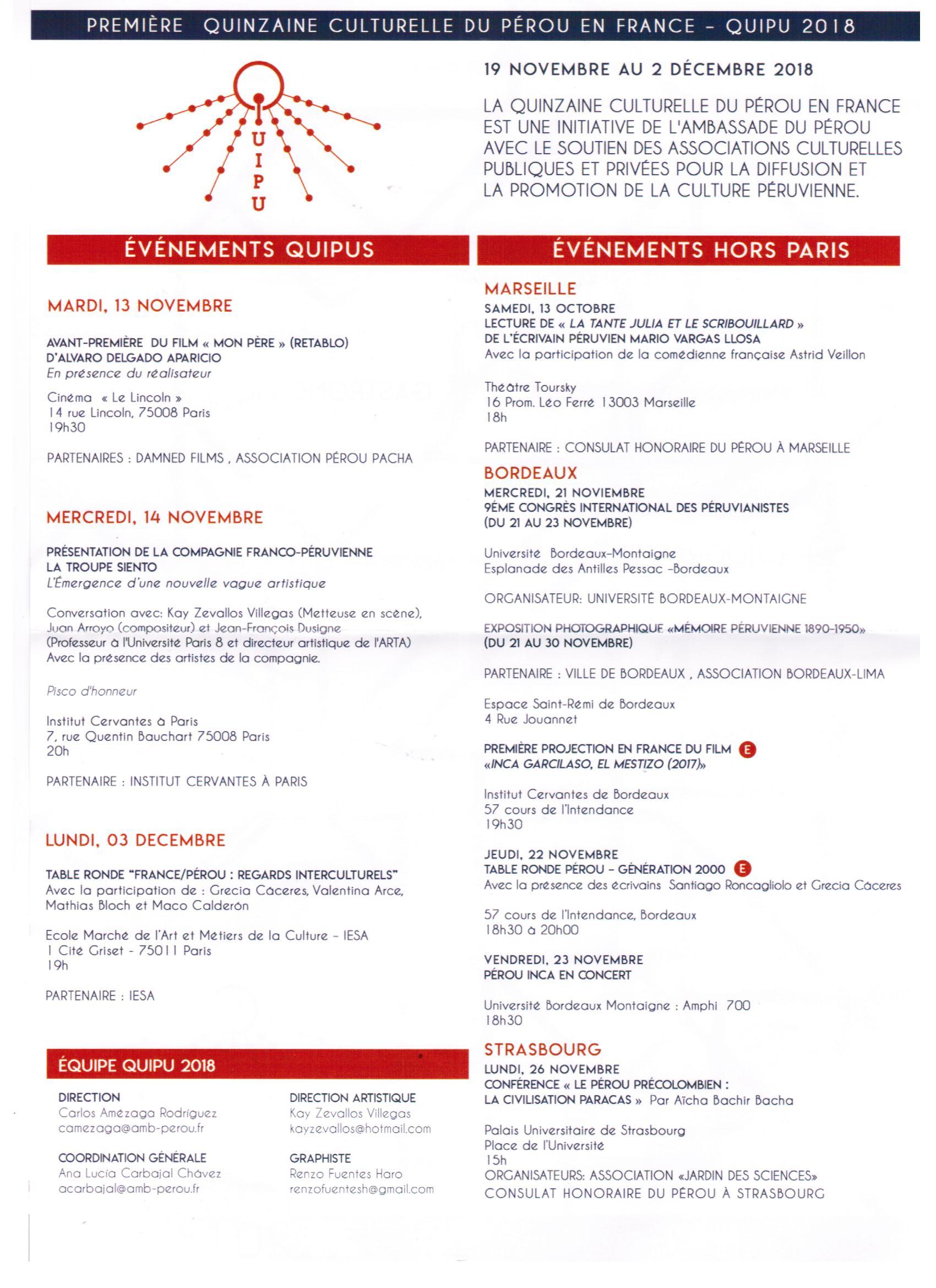 Profitez Galement De La Premire Quinzaine Culturelle Du Prou En France QUIPU 2018 19 Au 02 Dcembre Dont Vous Trouverez Le Programme Ci Dessous
